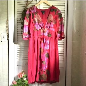 {Etcetera} Embroidered Floral Fuchsia Midi Dress